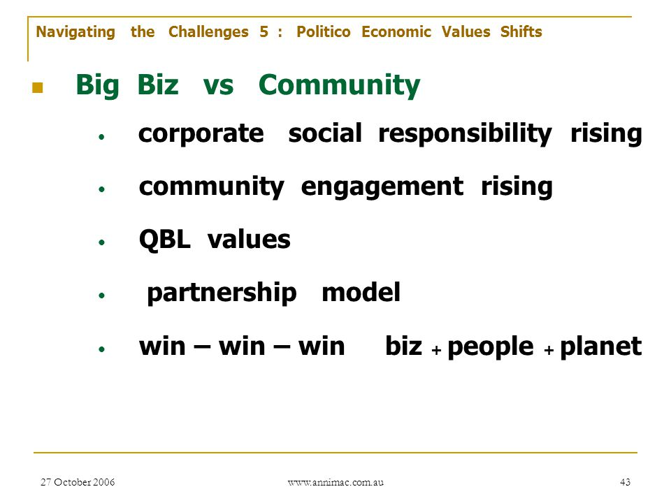 Big Biz vs Community community engagement rising QBL values