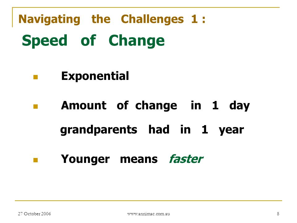 Speed of Change Navigating the Challenges 1 : Exponential