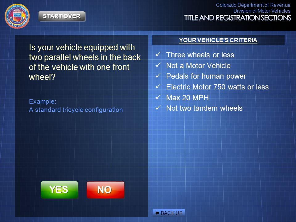 YOUR VEHICLE'S CRITERIA