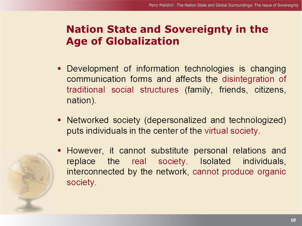 Nation State and Sovereignty in the Age of Globalization