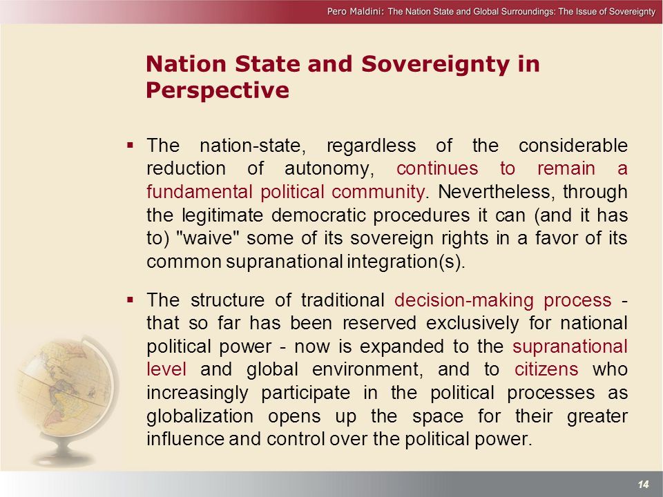 Nation State and Sovereignty in Perspective