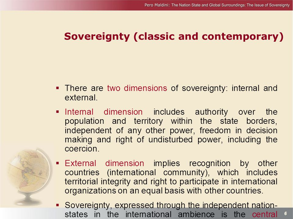 Sovereignty (classic and contemporary)