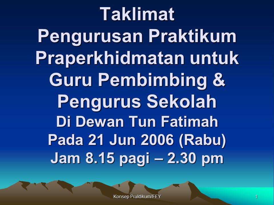 Taklimat Pengurusan Praktikum Praperkhidmatan untuk Guru Pembimbing & Pengurus Sekolah Di Dewan Tun Fatimah Pada 21 Jun 2006 (Rabu) Jam 8.15 pagi – 2.30 pm