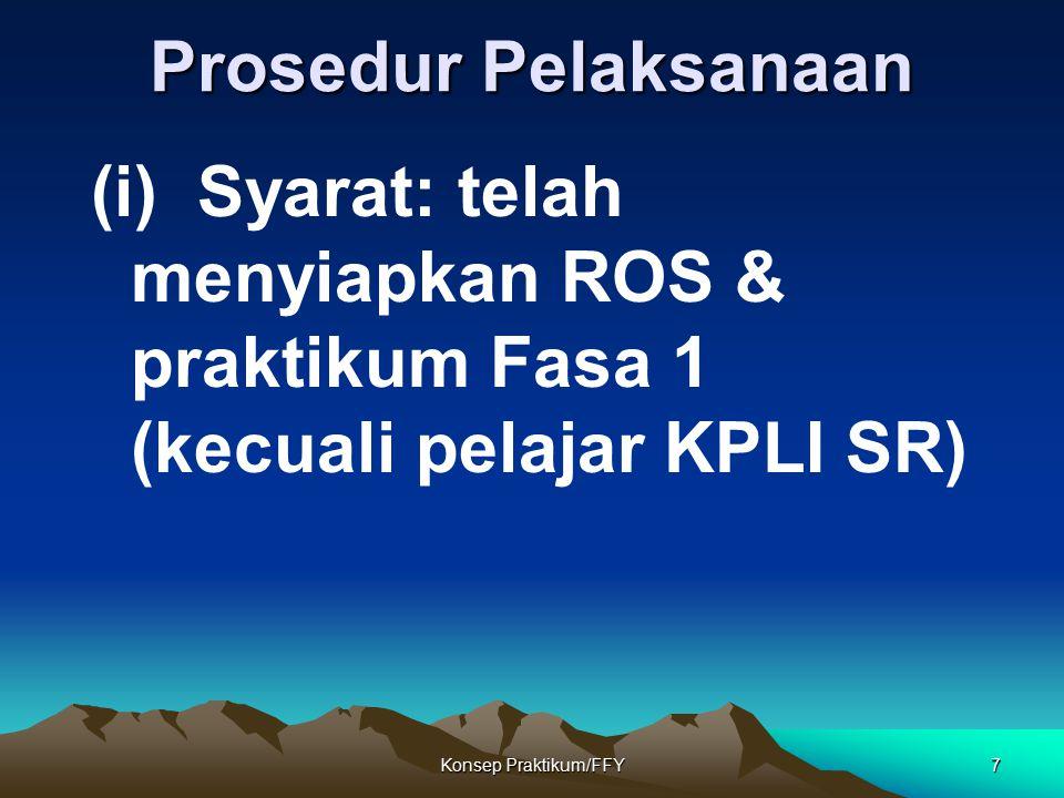 Prosedur Pelaksanaan (i) Syarat: telah menyiapkan ROS & praktikum Fasa 1 (kecuali pelajar KPLI SR)