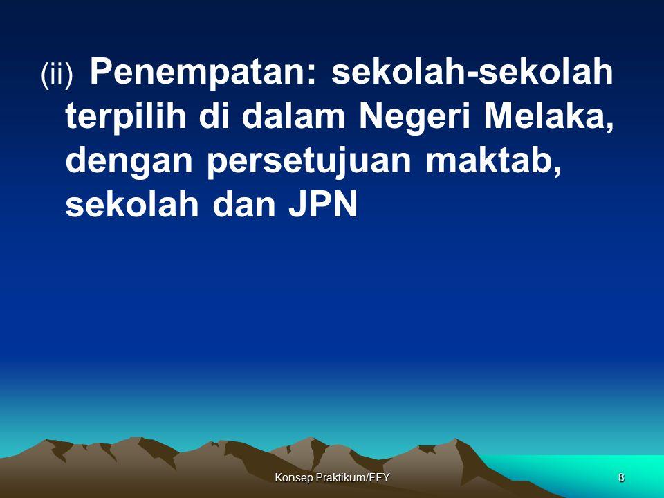 (ii) Penempatan: sekolah-sekolah terpilih di dalam Negeri Melaka, dengan persetujuan maktab, sekolah dan JPN