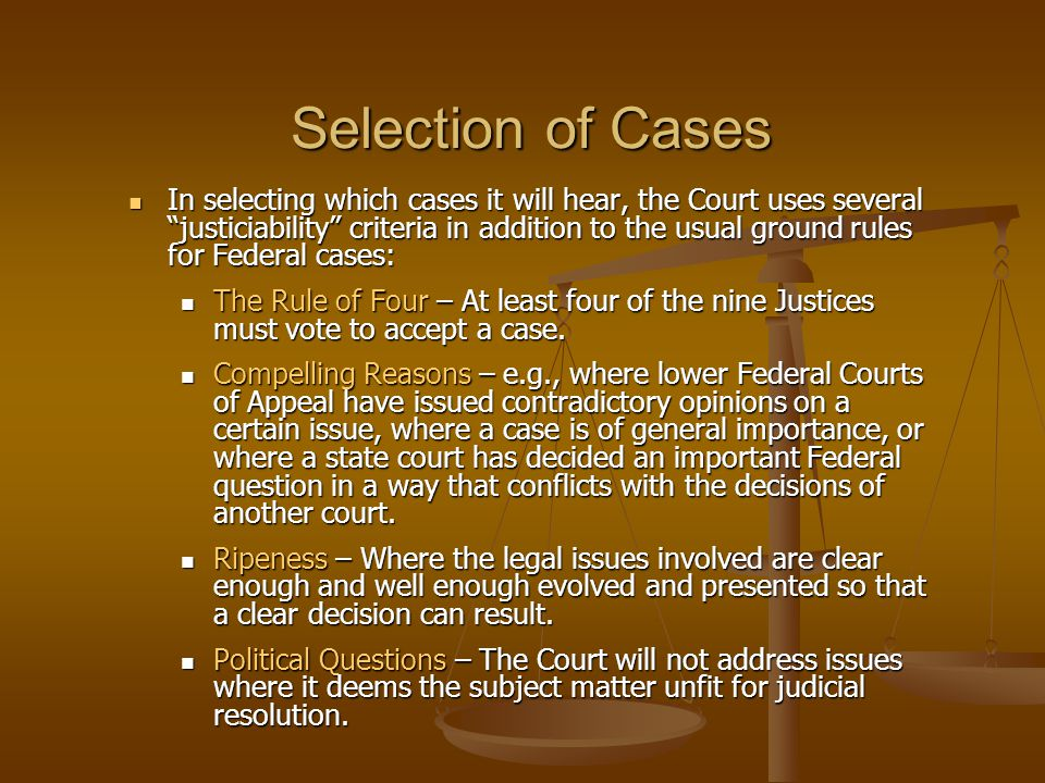 Selection of Cases