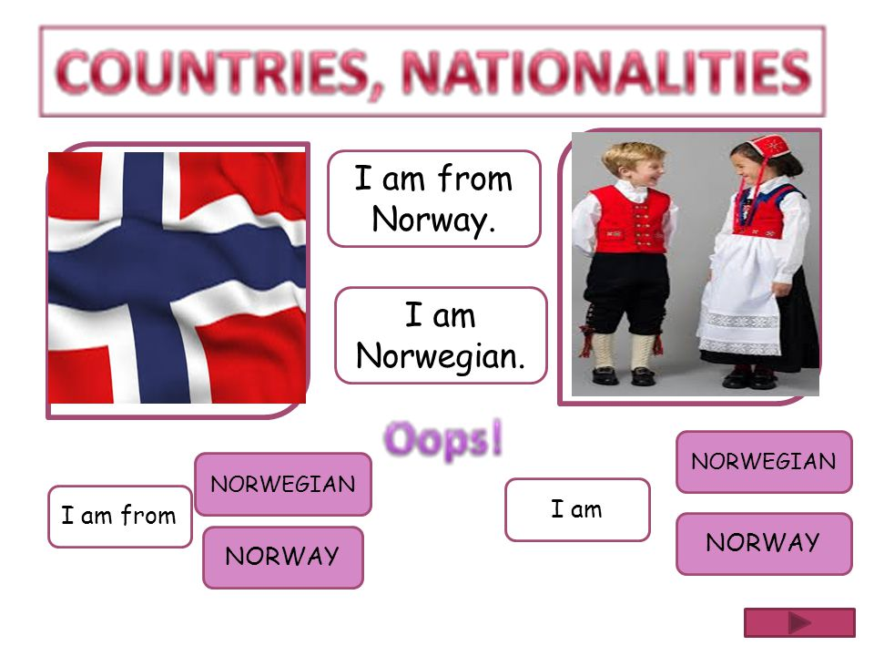 I am from Norway. I am Norwegian. I am I am from NORWAY NORWAY