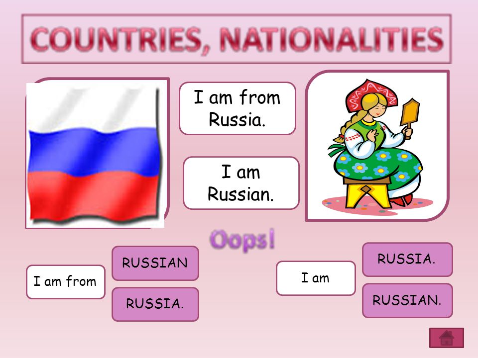 I am from Russia. I am Russian. RUSSIA. RUSSIAN I am I am from