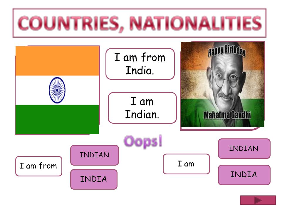 I am from India. I am Indian. INDIAN INDIAN I am I am from INDIA INDIA