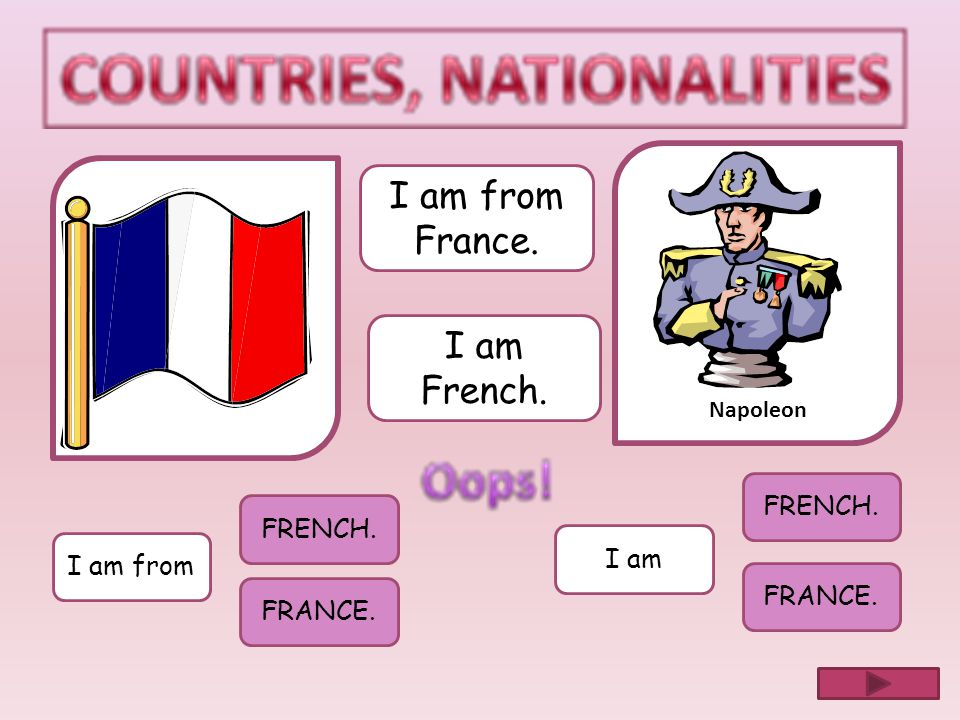 I am from France. I am French. FRENCH. FRENCH. I am I am from FRANCE.