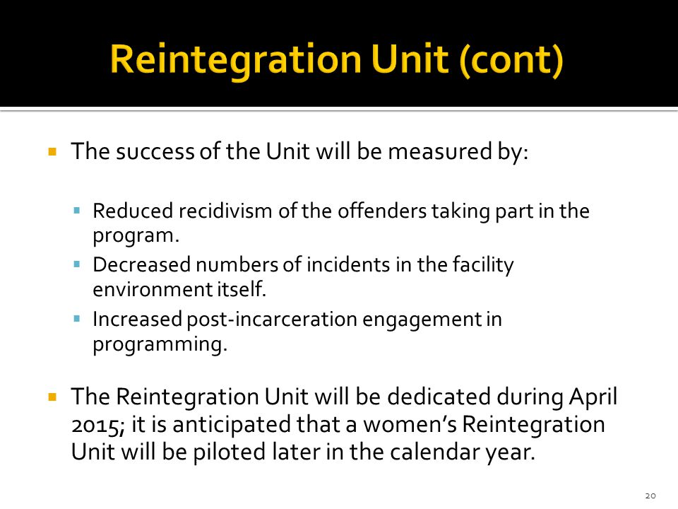 Reintegration Unit (cont)