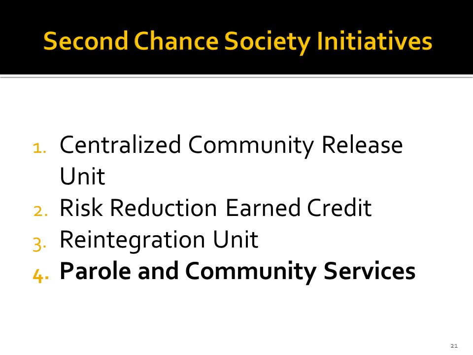 Second Chance Society Initiatives