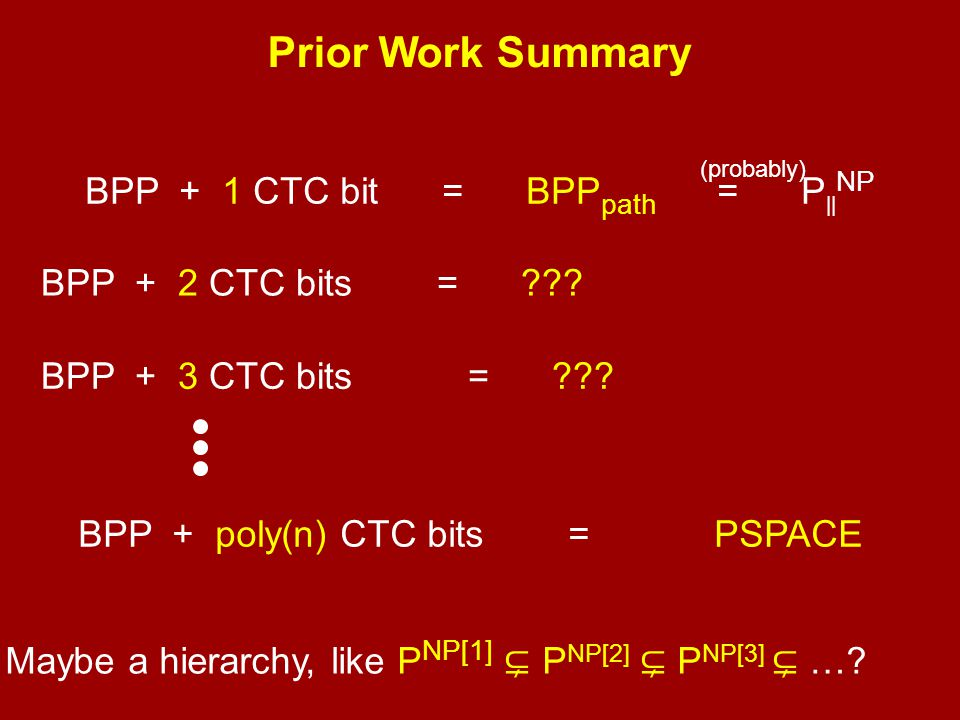 Prior Work Summary BPP + 1 CTC bit = BPPpath = P||NP