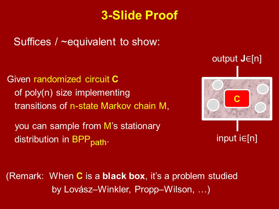 3-Slide Proof Suffices / ~equivalent to show: ₹ output J∈[n]