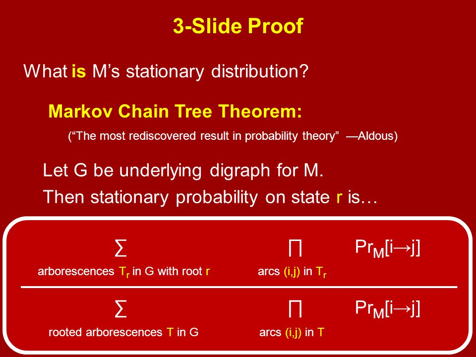 Markov Chain Tree Theorem: