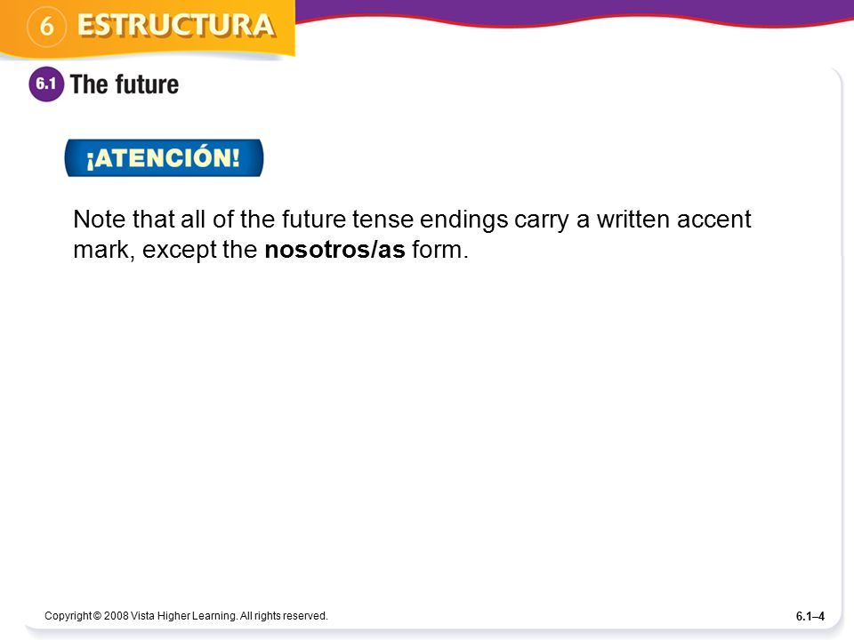 Note that all of the future tense endings carry a written accent mark, except the nosotros/as form.