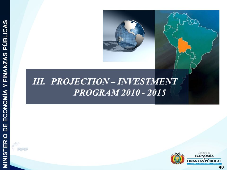 III. PROJECTION – INVESTMENT PROGRAM 2010 - 2015