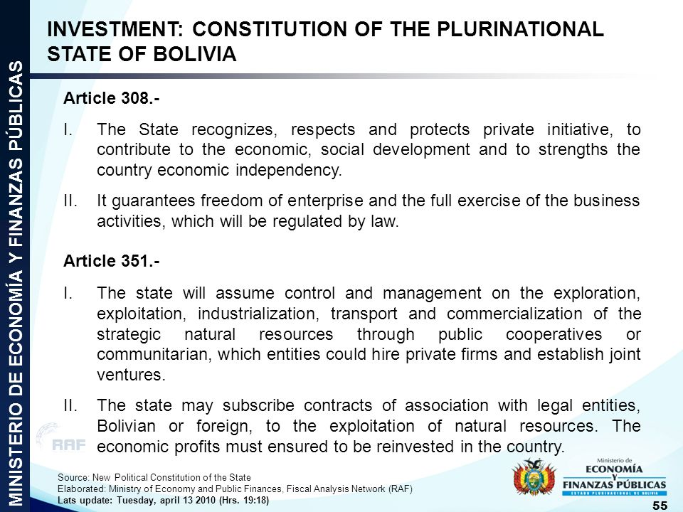 INVESTMENT: CONSTITUTION OF THE PLURINATIONAL STATE OF BOLIVIA