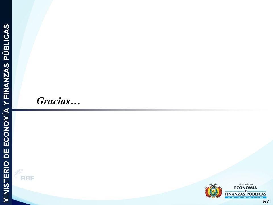 Gracias… MINISTERIO DE ECONOMÍA Y FINANZAS PÚBLICAS 57