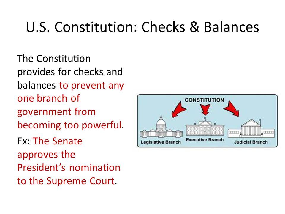 U.S. Constitution: Checks & Balances