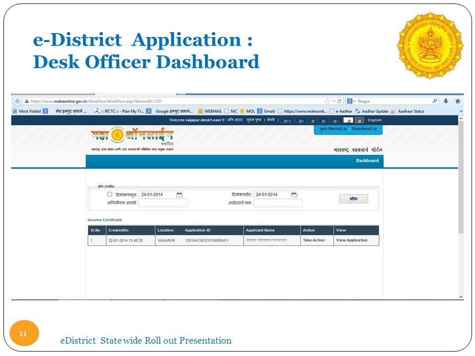 e-District Application : Desk Officer Dashboard