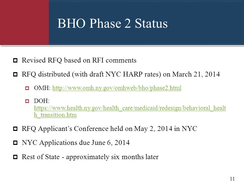 BHO Phase 2 Status Revised RFQ based on RFI comments