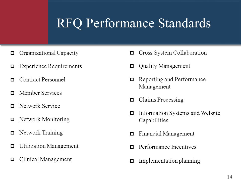RFQ Performance Standards
