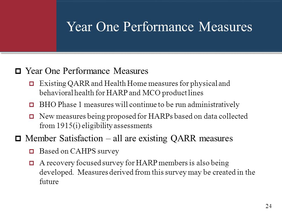 Year One Performance Measures