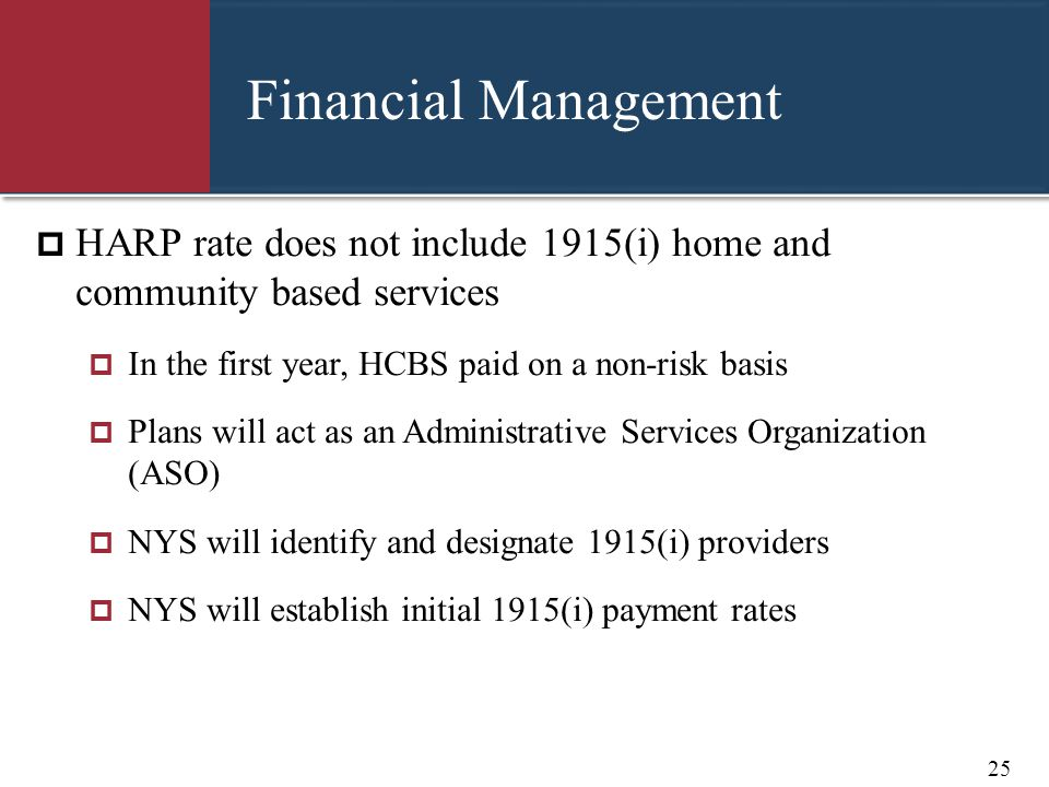 Financial Management HARP rate does not include 1915(i) home and community based services. In the first year, HCBS paid on a non-risk basis.