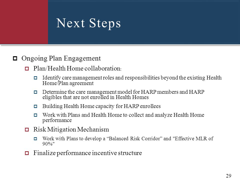 Next Steps Ongoing Plan Engagement Plan/Health Home collaboration: