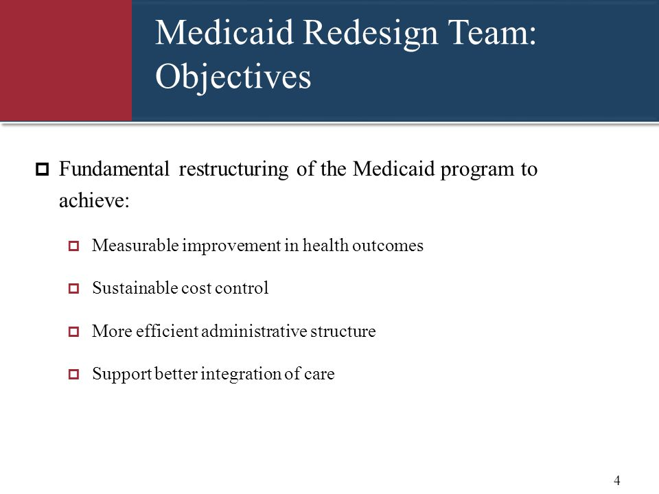 Medicaid Redesign Team: Objectives