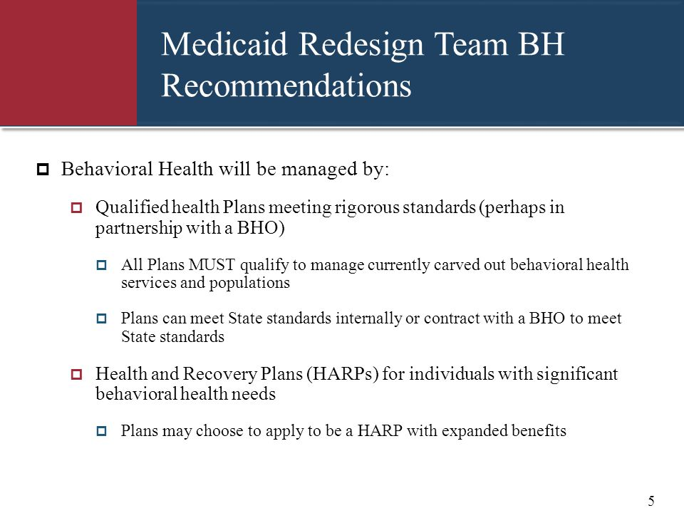 Medicaid Redesign Team BH Recommendations