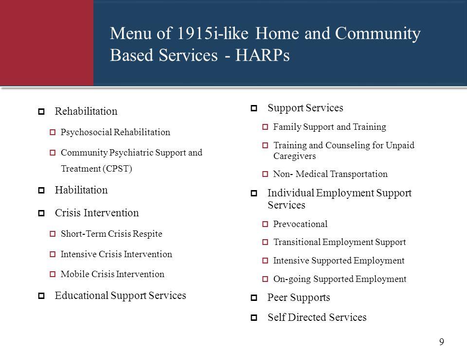 Menu of 1915i-like Home and Community Based Services - HARPs