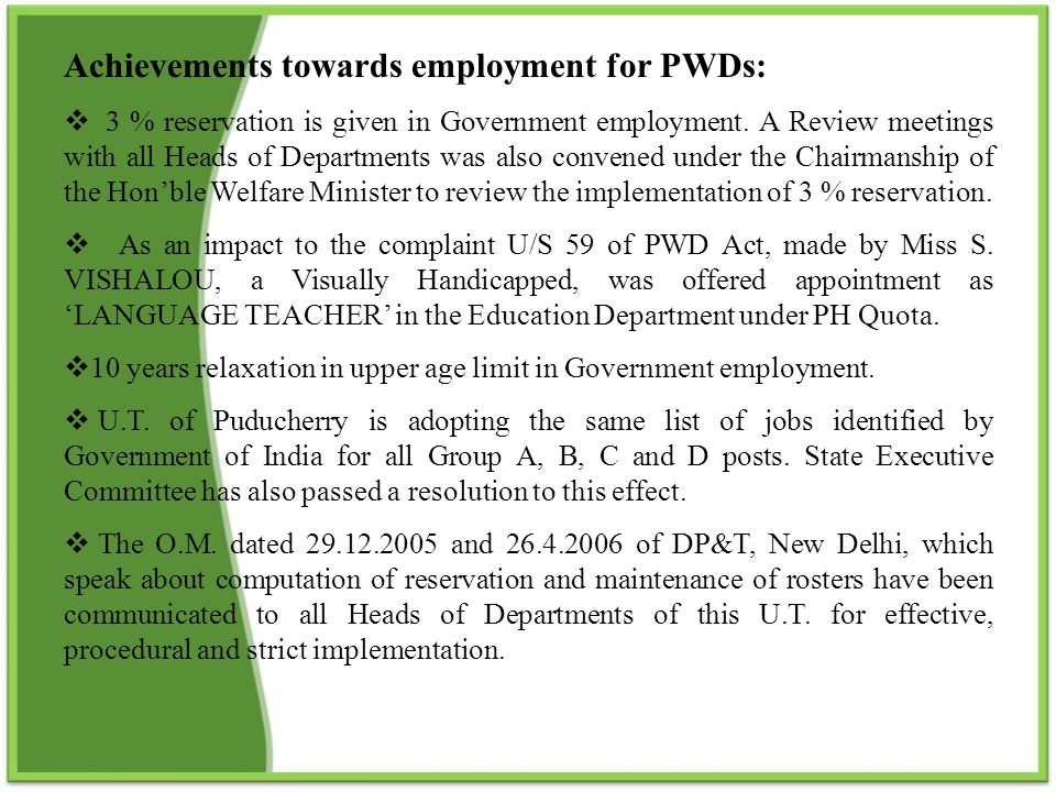 Achievements towards employment for PWDs: