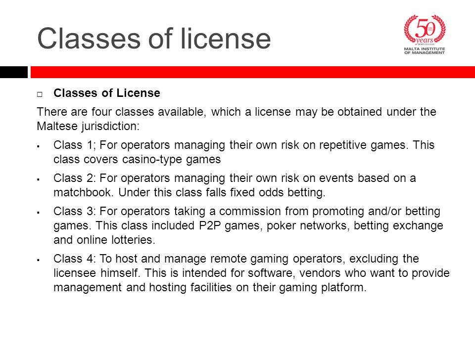 Classes of license Classes of License