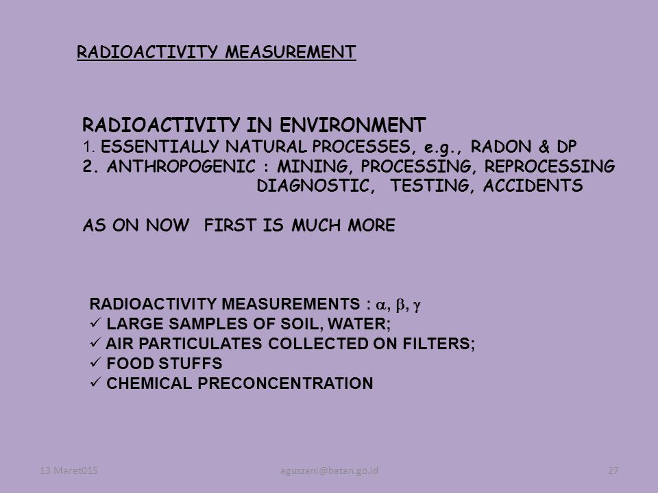 RADIOACTIVITY IN ENVIRONMENT