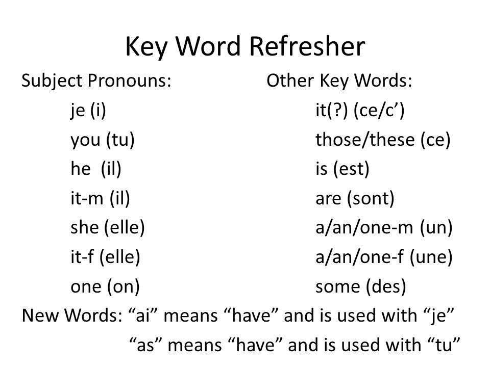 Key Word Refresher