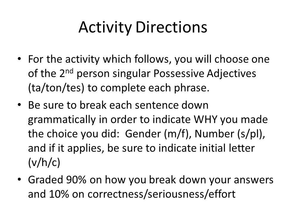 Activity Directions