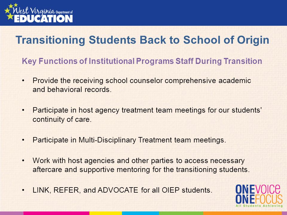 Transitioning Students Back to School of Origin