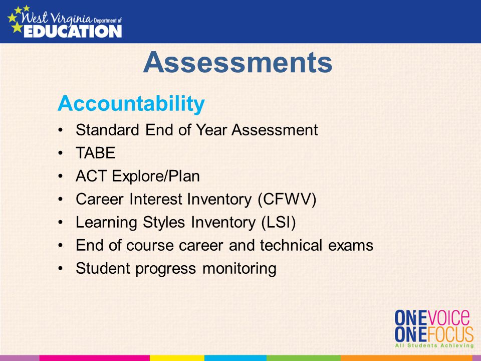 Assessments Accountability Standard End of Year Assessment TABE