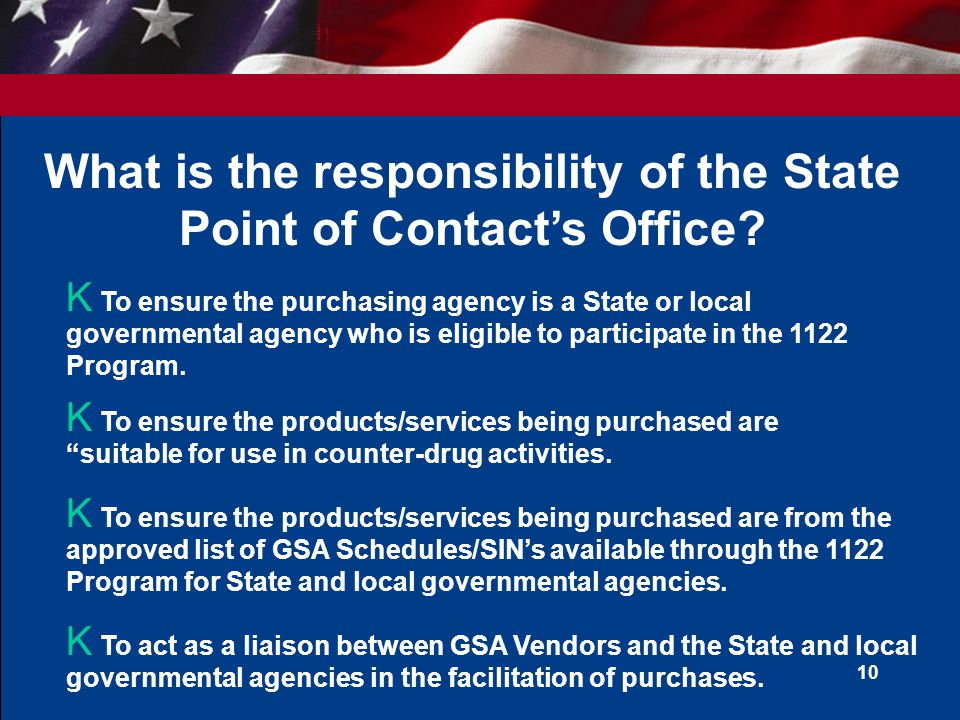 What is the responsibility of the State Point of Contact's Office