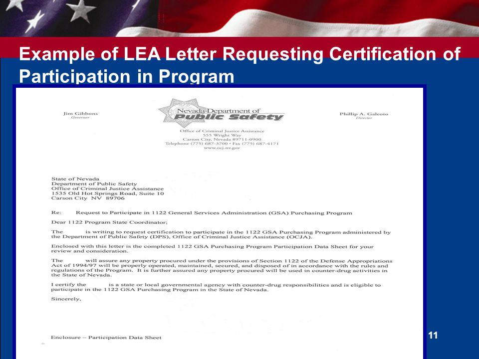 Example of LEA Letter Requesting Certification of Participation in Program