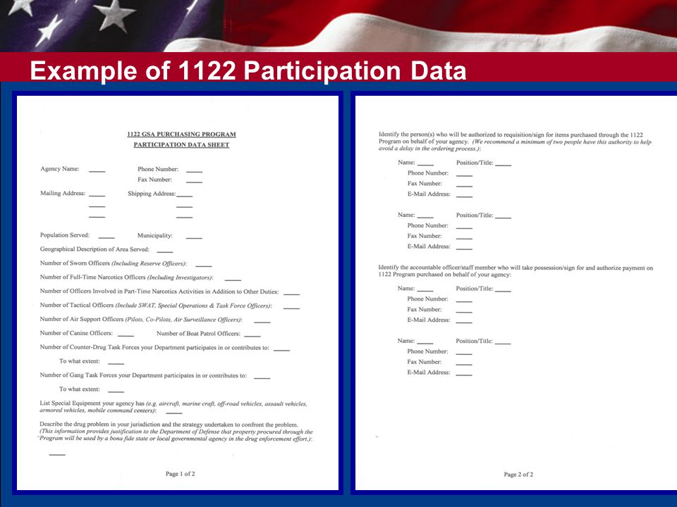 Example of 1122 Participation Data Sheet