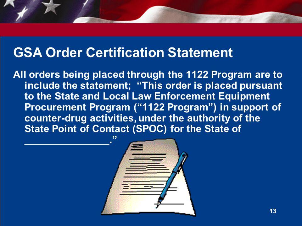 GSA Order Certification Statement