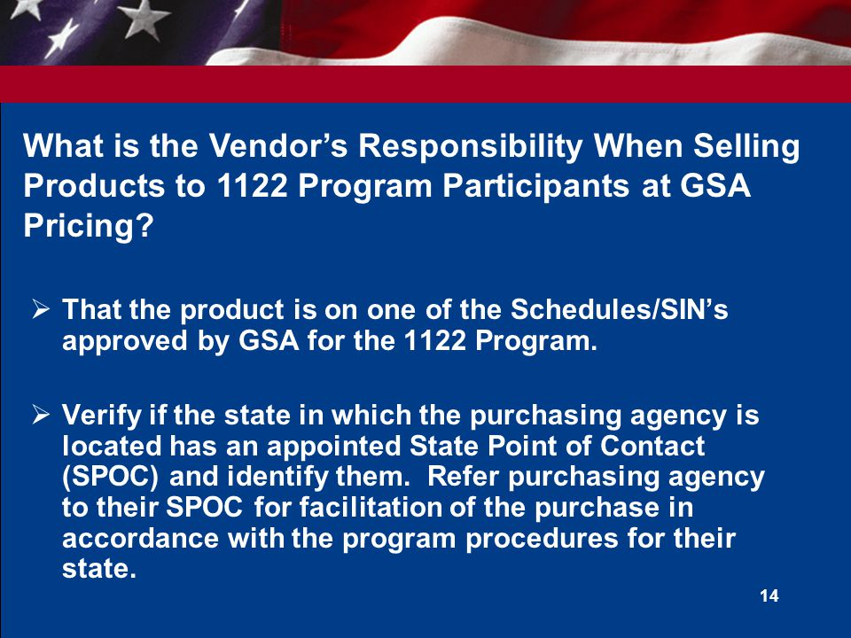 What is the Vendor's Responsibility When Selling Products to 1122 Program Participants at GSA Pricing
