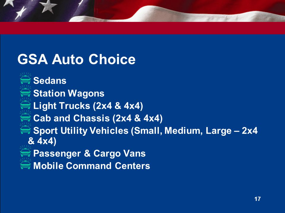 GSA Auto Choice Sedans Station Wagons Light Trucks (2x4 & 4x4)