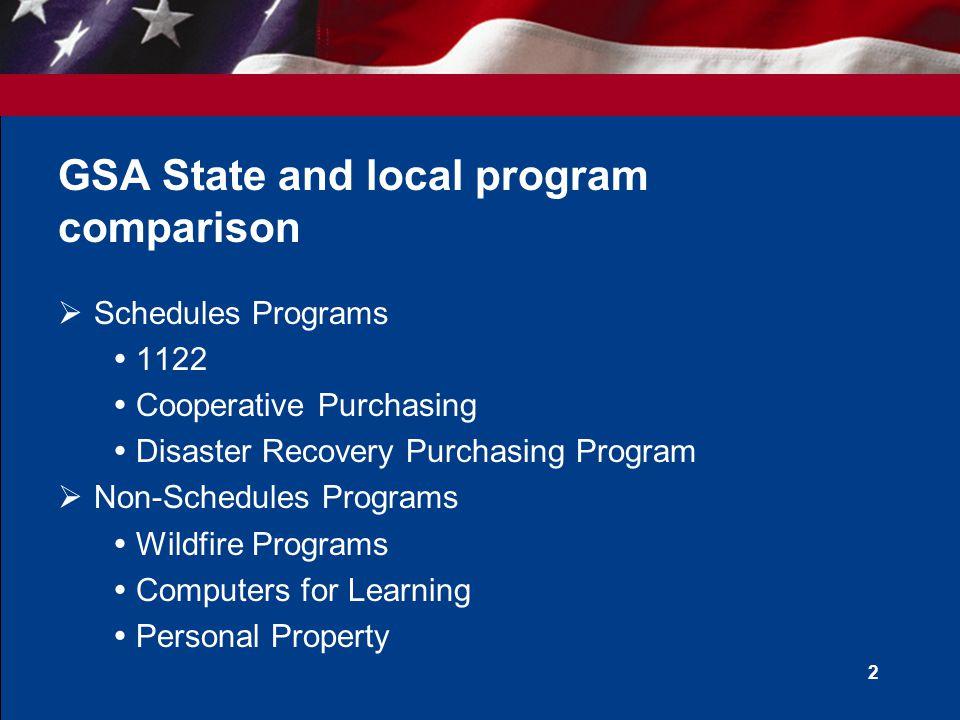 GSA State and local program comparison