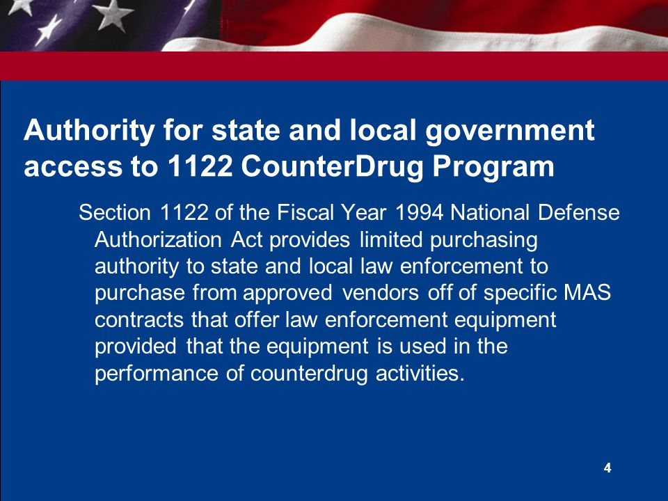 Authority for state and local government access to 1122 CounterDrug Program