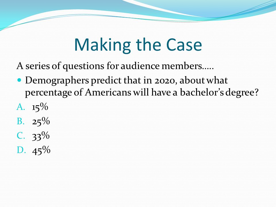 Making the Case A series of questions for audience members…..