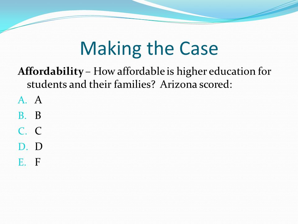 Making the Case Affordability – How affordable is higher education for students and their families Arizona scored: